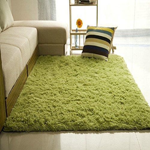 Originaltree Shaggy Teppiche für Wohnzimmer Slip Resistant Fluffy Soft Teppich Raum Bereich Teppich Schlafzimmer Mat size 60cm by 160cm (Gras-Grün) (Grünes Gras Mat)
