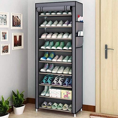 Ejoyous 9 Schicht SchuhSchrank, Staubdichtes Schuhregal Schuhstander Schuhaufbewahrung Schuhorganizer mit staubdichtem Überzug für Wohnzimmer Flur ca. 27 Paar Schuhe Beige 58 x 28 x 160 cm
