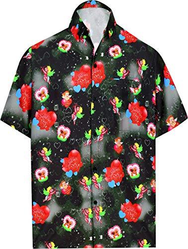 LA LEELA Herren-Hawaii-Hemd Strand Valentines Tag Geschenke für Ehemann Geschenk für ihn Thema-Partei netten Liebesherz romantischen Date Paare Aloha Valentinstag Schwarz L