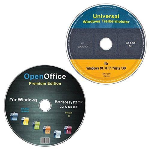 Universal Treiber-Meister CD/DVD für Windows 10 / 8 / 7 / Vista / XP (32 & 64 Bit) alle (PC & Laptop) Modelle + OpenOffice Premium Edition (2 DVD Spar-Set)