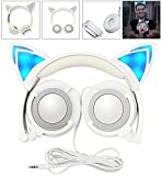 LIMSON Cat Ear Headphones for Kids LED Light Wired Gaming Cute Headset L107