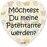 Puzzle-Botschaft Herz ~ Möchtest Du meine Patentante werden - bunt ~ 75 Teile 19x19cm inkl. Geschenk-Beutel ~ WB wohn trends®