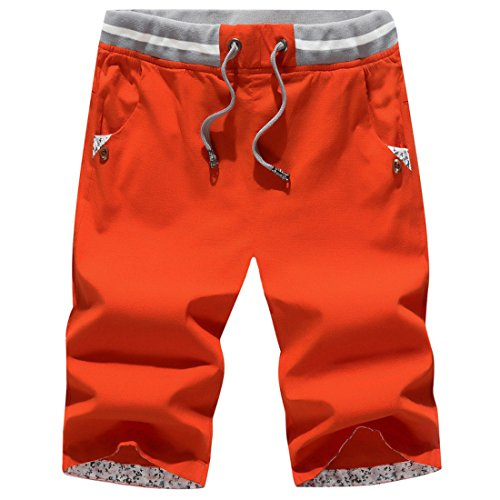 Men's Bermuda Masculinas Cotton Breathable Casual Shorts Orange