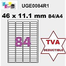 Apli–Etiquetas adhesivas–8400etiquetas 46x 11.1mm–blanco mate–para impresoras láser y de inyección de tinta–100hojas A4autoadhesivas Reference Univers uge0084r1