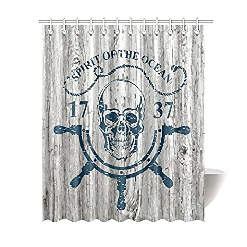 Spirit Of The Ocean Water Proof House Decor, Anchor Skull Rudder Rope Quotes Nautical The Adventure Begins Message History Fabric Bathroom Shower Curtain 69 X 84 Inches, Light Navy