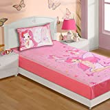 Fairy Twin Bedding Set for Girls - Includes Sheet and Pillow Case with Pink Digital Print - 100% Cotton Fabric