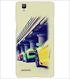 PrintDhaba Cars D-2169 Back Case Cover for OPPO F1 (Multi-Coloured)