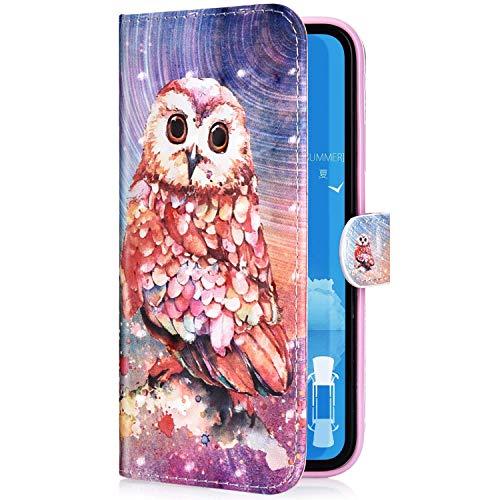 Uposao Kompatibel mit iPhone 11 Pro Max Handyhülle Leder Tasche Bling Glitzer Luxus 3D Effekt Glänzend Muster Hülle Flip Wallet Case Brieftasche Klapphülle Ständer Kartenfach,Rosa Eule