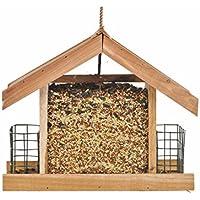 Opus [Perky-Pet] Mangeoire à oiseaux Cabane Deluxe en bois de cèdre avec toit de protection à suspendre - Capacité max. 2,3 kg de graines + 2 galettes de suif  #50144