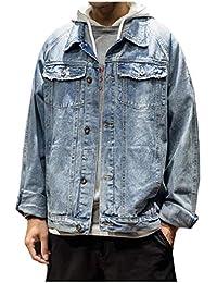 Vinyst Men's Japanese Turn Down Collar Multi Pockets Vintage Washed Denim Jacket Coat