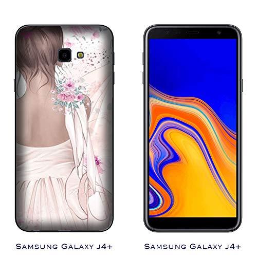 J4 Plus Case Samsung Galaxy J4+ | J4 Plus Tanz was für eine Leidenschaft Ballerina mit Schuhen/Cover Druck auch an den Seiten/Anti-Rutsch Anti-Rutsch Anti-Scratch Schock-resis ()