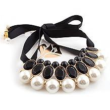 Museya Ragazze gemme acriliche grandi perle ciondolo nastro falso collare collana girocollo elegante donna (nero)