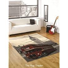 Funky Retro Londres gran humo alfombra en varios tamaños, negro, 120 cm x 160 cm