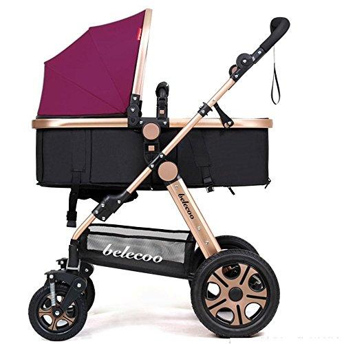 DACHUI Kinder Trolley, Buggy, Kinderwagen, können Lügen Faltung Auto, Baby Stroller (Farbe: Irdischen gold Violett)
