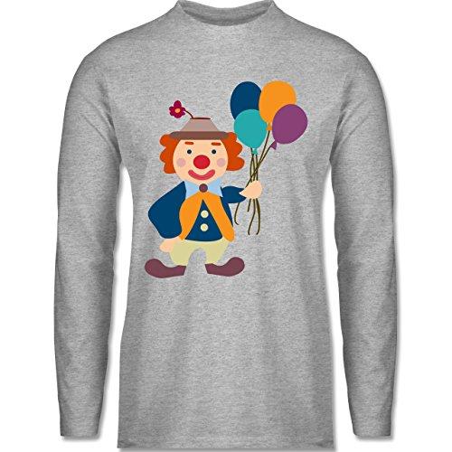 Shirtracer Karneval & Fasching - Clown Luftballons - Herren Langarmshirt Grau Meliert