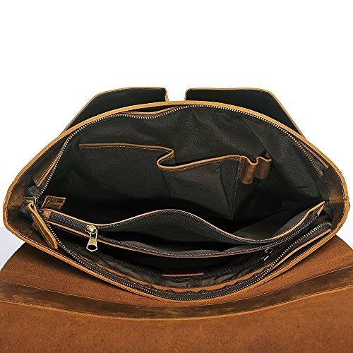 S-ZONE 15.6 pollici borsa a tracolla di spalla del messaggero del computer portatile del cavaliere pazzesco dellannata del computer portatile (marrone) Marrone chiaro
