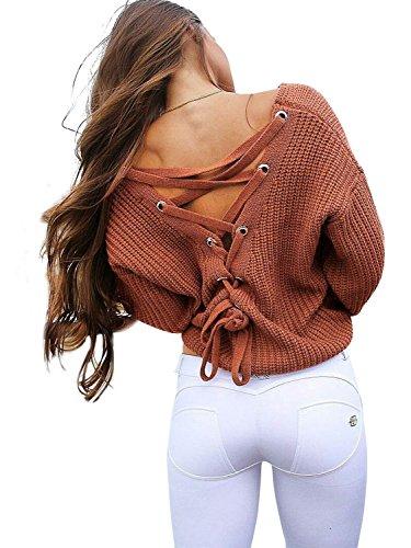 Simplee Apparel Damen Sweater Sexy V-Ausschnitt Rückenfrei Lace up Oversize Strickpullover Oberteil Rot
