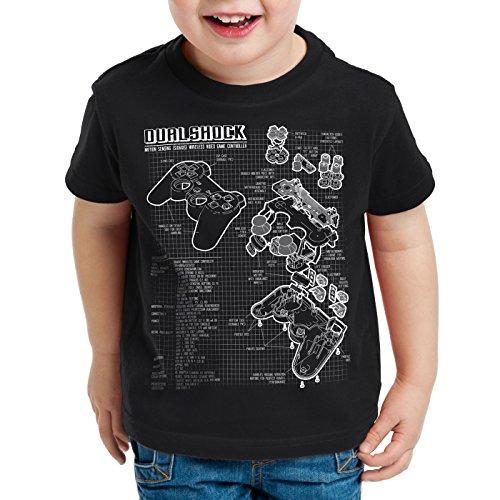 style3 Dualshock Controller Blaupause T-Shirt für Kinder PS gamepad konsole, Farbe:Schwarz;Größe:152