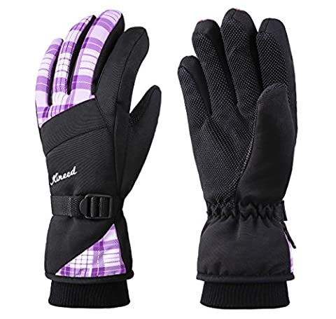 KINEED Waterproof Women Winter Ski Snowboard Snow Cycling Gloves Thermal Thinsulate Lined Purple