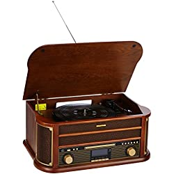 Auna Belle Epoque 1908 Equipo estéreo tocadiscos retro DAB Bluetooth (Reproductor CD cassette, sintonizador DAB, radio AM/FM, ranura USB, función grabación, altavoz estereo, mando distancia, carcasa madera)