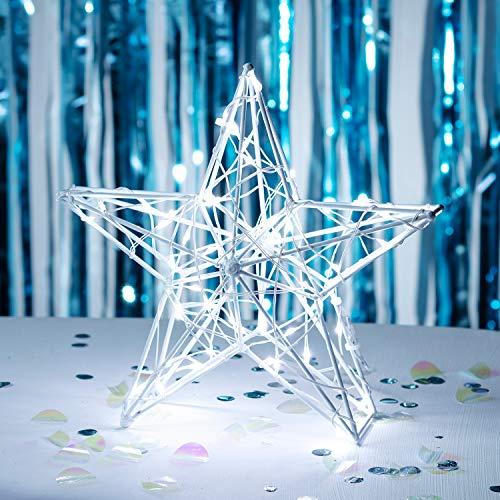Lights4fun 60er LED Stern Fensterbild Weihnachten Fensterdeko Timer Batteriebetrieb 35cm