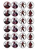 24x Deadpool Essbar Cupcake caketoppers