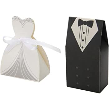 Bornfeel Bride And Groom Wedding Favour Boxes Bags 100pcs Gift Boxes