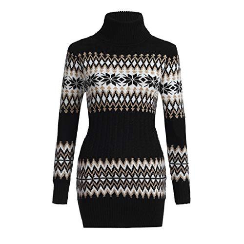 Hulky liquidazione donna moda maglione dolcevita pullover casual maglia vestito autunno inverno caldo boho boho abito donna abiti(nero,medium)
