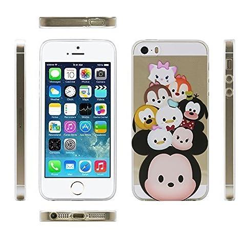 iProtect TPU Schutzhülle Apple iPhone 5 5s Soft Case Silikon - Gel Hülle Cartoon alte Freunde