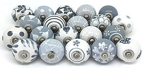 Knauf für Schrank, Schublade, aus Keramik, handbemalt, 10Stück Grey & White