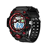 Relojes para Estudiantes, BBestseller Relojes Deportivo Infantil electrónico Multifuncional Impermeable a Todo Color Luminoso Inteligente Podómetro Pulsera (Rojo 1)
