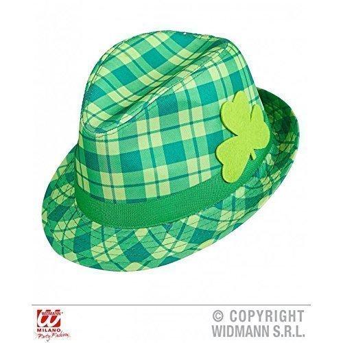 Ska / Trillby Hut / Fedora grün karriert mit Kleeblatt ideal für St Patrick's Day als Kostümzubehör