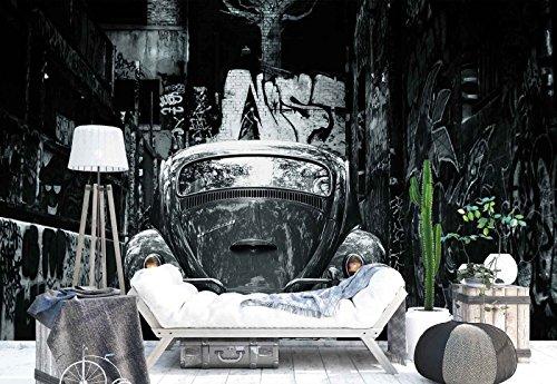 Vlies Fototapete Fotomural - Wandbild - Tapete - Klassisches Mini-Auto Gasse Graffiti - Thema Transport - L - 254cm x 184cm (BxH) - 2 Teilig - Gedrückt auf 130gsm Vlies - 1X-1244114V4