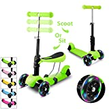WeSkate 3 Wheels Scooter for Kids 3-in-1 Mini Height Adjustable Kick Scooter