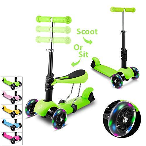 Hikole Smibie Scooter para niños Patinete de 3 Ruedas con Altura Adjustable Asiento extraíble y Adjustable Manillar en T LED Enciende la Rueda para niños Chicos Chicas 2-7 años de Edad
