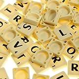 Vollständiges Set mit Scrabble-Steinen (100 Stück) - schwarze Buchstaben - weiße Kunststoff-Spielsteine