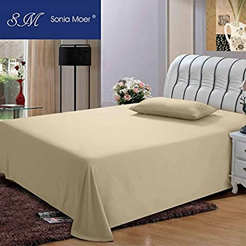 Premium Polycotton 200 Thread Count Flat Sheet by Sonia Moer, (Double, Cream)