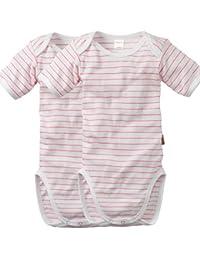 wellyou | 2er Set Kinder Baby-Body Kurzarm-Body | weiß neon-pink gestreift | geringelt | Feinripp 100% Baumwolle | Größe 50-134