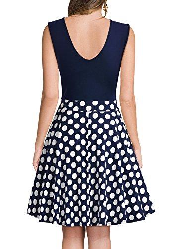 Miusol Damen Sommer Kleid V-Ausschnitt Ärmellos Blume Patterned Mini Casual Kleid Navy Blau-Polka Dots Gr.XXL - 2