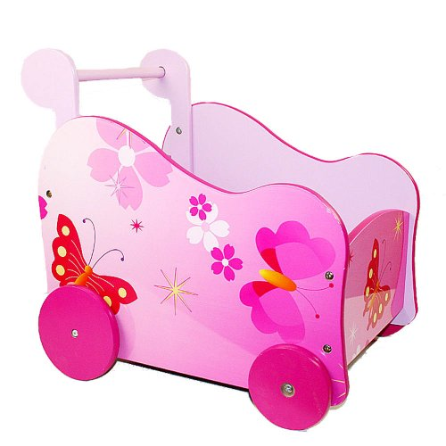 Homestyle4u 768 Puppenwagen Schmetterling Blumen , Lauflernwagen für Mädchen , Holz Pink Rosa