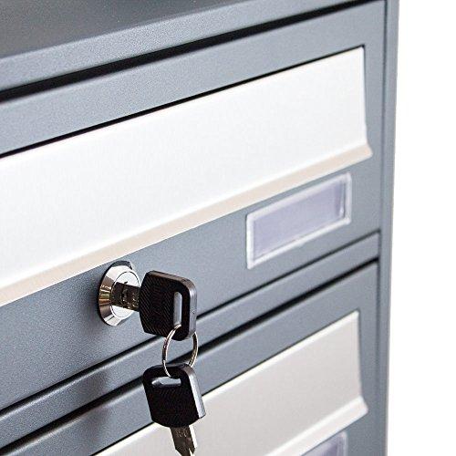 BITUXX® Design Stand-Briefkastenanlage Postkasten Letterbox Mailbox Edelstahl Briefklappe mit 3 Fächer Dunkelgrau - 4