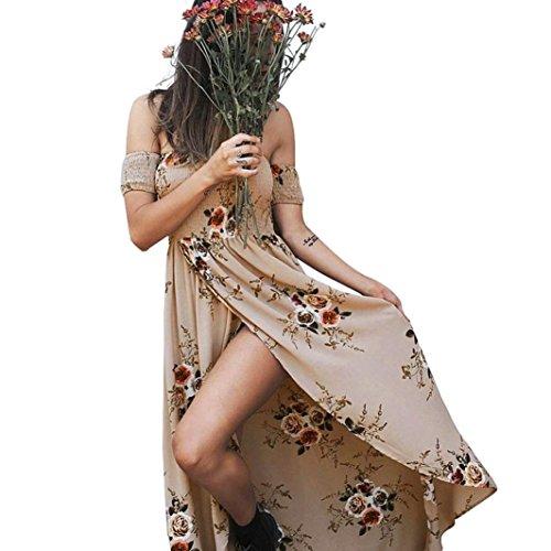 OverDose Damen boho ärmellos Sommerkleid Halfter Maxi kleid Printed Beach Party Unregelmäßiges Strand Kleid blumen kleider (S, B-Khaki)