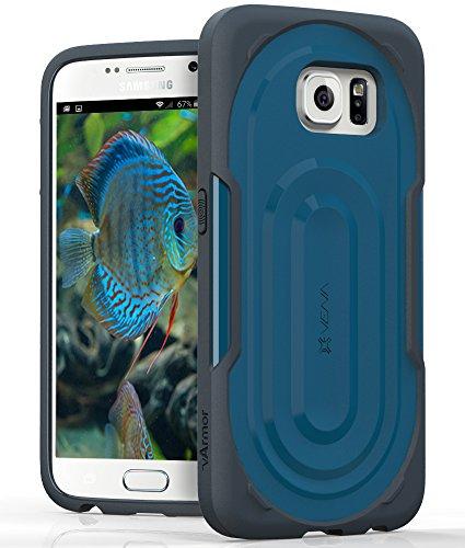 VENA vArmor PC + TPU Case for Samsung Galaxy S6 - Dark Gray (TPE) / Blue (PC)