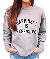 X-Future Womens Casual Letter Print Long Sleeve Pullover Sweatshirt Tops Grey S