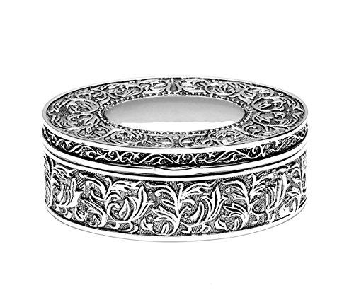 Brillibrum Edle Schmuckschatulle Versilbert Aus Metall Schmuckkästchen Schatulle Ring-Schachtel Box Dose Silber Geschenke (Schatulle mit Gravur bis 15 Zeichen)