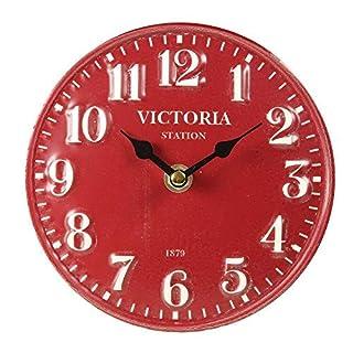 Table Clock Metal Red Nostalgia Vintage Watch Ø 15cm Antikuhr Shabby