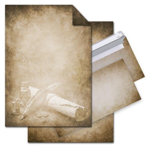SET 12 Blatt Briefpapier VINTAGE FÜLLER PAPIERROLLE beidseitig bedruckt 100g DIN A4 Brief-Bogen + 10 Stück nostalgie Umschläge antik altes Papier braun beige natur marmoriert