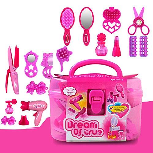 Leoie Kinder Schönheitssalon Spielzeug Schönheit Fall mit Fön Kamm Parfüm Flasche Lippenstift Mädchen Pretend Spiel Toys Set - Salon-haarstrecker