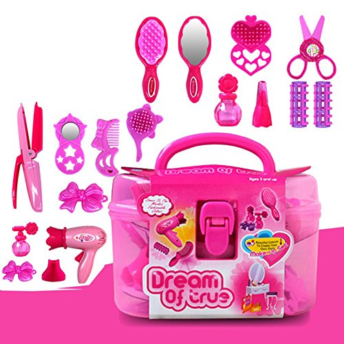 PinShang - Juego de Accesorios de Belleza para niñas con secador de Pelo, Botella de Perfume y lápiz Labial