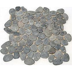 Fliesen Mosaikfliesen Bad Boden Naturstein Kiesel grau schwarz 10-13mm Neu #SN30